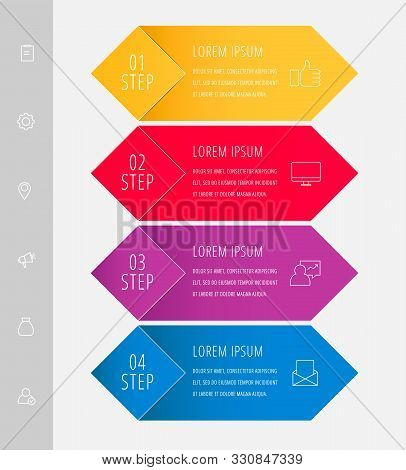 Vector Infographic Flat Template. Rhombus With Label For Four Diagrams, Graph, Flowchart, Timeline,