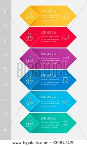 Vector Infographic Flat Template. Rhombus With Label For Six Diagrams, Graph, Flowchart, Timeline, M