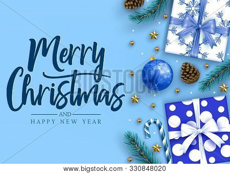 Merry Christmas And Happy New Year Lettering Calligraphic Holiday Postcard Greeting Text In Blue Bac