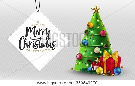 Merry Christmas Greeting Typography Lettering In White Space For Text With Christmas Tree, Gifts, Ba