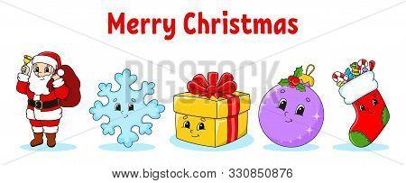 Set Of Christmas Cute Cartoon Characters. Santa Claus, Snowflake, Gift, Bauble, Sock. Happy New Year