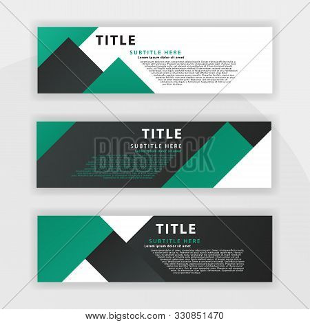 Sixth Banner Set Is Color Dark Green, Suitable For Professional Companies. Designed To Be Online Lik