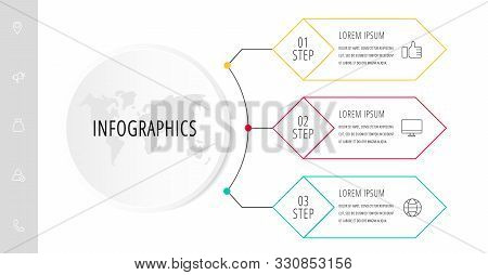 Vector Infographic Flat Template. Circle With 3 Rhombus And Label. Used For Three Diagrams, Graph, F