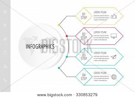 Vector Infographic Flat Template. Circle With 4 Rhombus And Label. Used For Four Diagrams, Graph, Fl