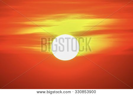 Big Sun Sunset Sky Orange Sky Orange Outdoor Summer Nature