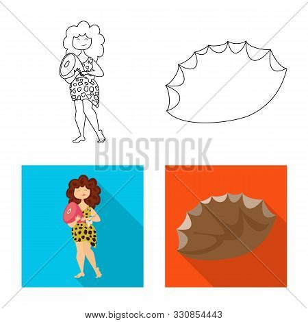 Vector Design Of Evolution And Prehistory Logo. Collection Of Evolution And Development Stock Vector