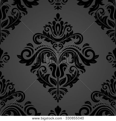 Classic Seamless Vector Pattern. Damask Orient Black Ornament. Classic Vintage Background. Orient Or