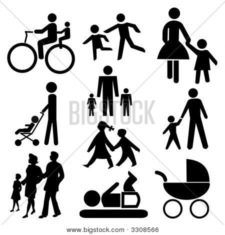 assorted family silhouettes including bicycle baby and pram poster