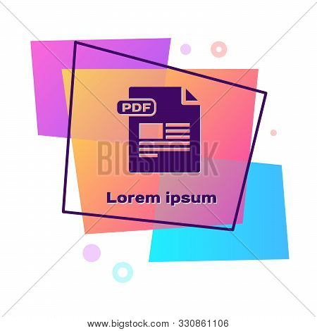 Purple Pdf File Document. Download Pdf Button Icon Isolated On White Background. Pdf File Symbol. Co