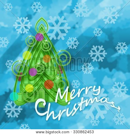 Merry Christmas Greeting Design With Christmas Tree And Snowflakes