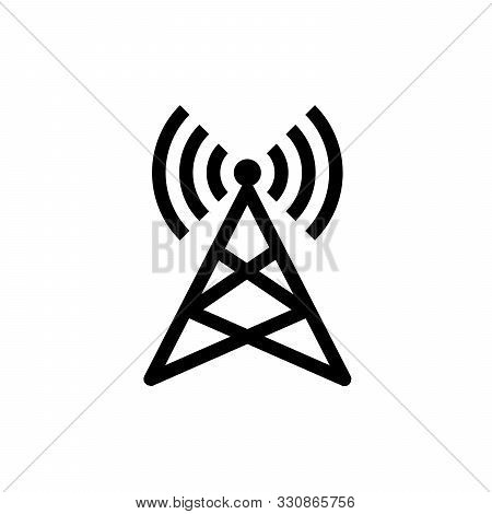 Radio Tower Line Icon. Wave, Receiver, Technology. Station Wi-fi, Connection, Telecommunication Conc