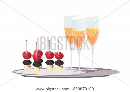 Canapes And Champagne Flat Vector Illustration. Gourmet Restaurant, Prestigious Party Service. Luxur
