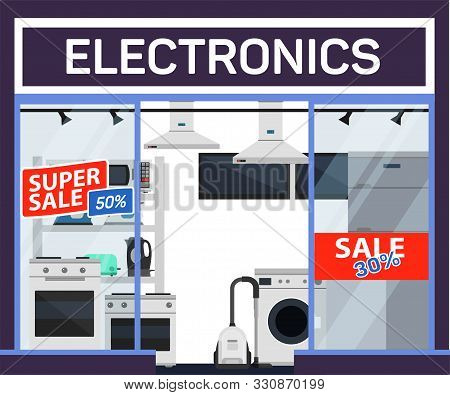 Electronics Sale Flat Banner Vector Template. Special Price Offer, Fifty Percent Discount. Consumer