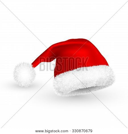 Realistic Red Santa Claus Hat Isolated On White Background. Gradient Mesh Santa Claus Cap With Fur.