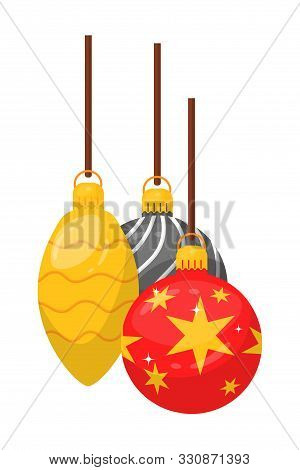 Christmas Balls Flat Vector Illustration. New Year Tree Decoration Isolated Clipart On White Backgro