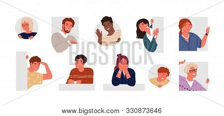 Cheerful, Curious, Happy People Flat Vector Illustration Set. Men And Women Peeping, Staring, Smilin