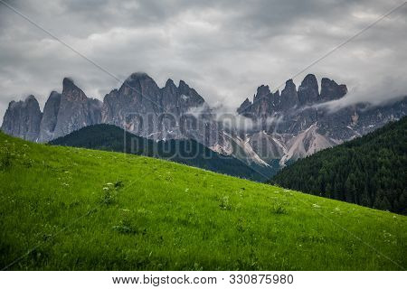 Dolomites, Italy - July, 2019: Famous Best Alpine Place Of The World, Santa Maddalena Village With D