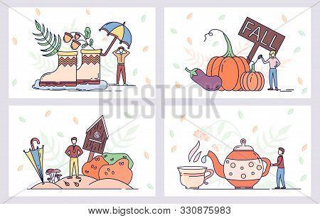 Autumn Season Vector Posters. Farm And Harvest Vegetables. Rain Boots And Umbrella. Hot Tea Pot