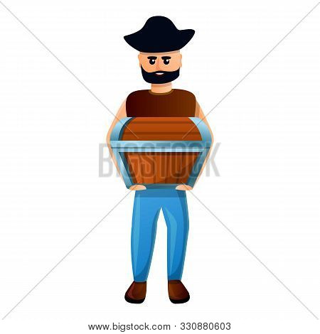 Pirate With Dower Chest Icon. Cartoon Of Pirate With Dower Chest Vector Icon For Web Design Isolated