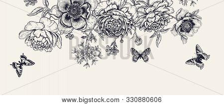 Garland Of Luxurious Blooming Peonies. Flowers, Butterflies And Birds. Background Colors Kraft Paper