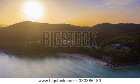 Aerial Sunrise View Of Little Cove Beach And Noosa Headland
