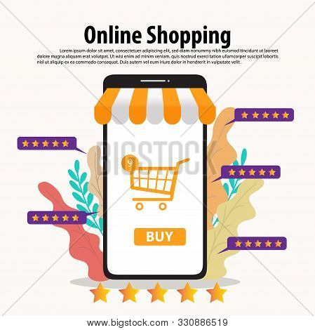Online Shopping Concept Illustration. Buying And Selling Items. Online Payment, Buying Online - Vect
