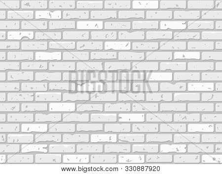 Seamless Grunge Brick Wall Texture. Realistic White Brick Wall Background. Pattern For Interior Desi
