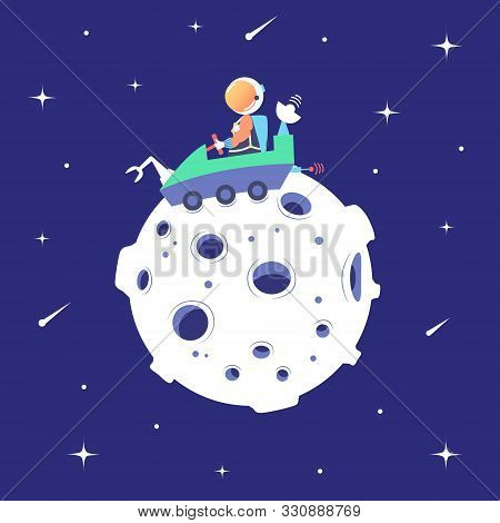 Astronaut Rides On A Lunar Rover On The Surface Of The Moon. Landing On The Satellite. Lunar Mission