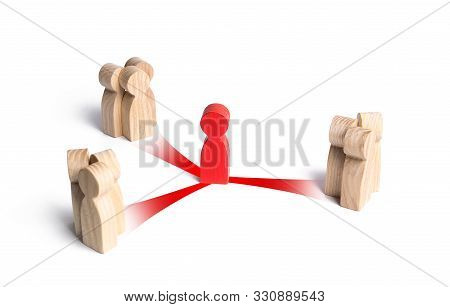 Red Figurine Mediator Between Three Groups Of People. Business Deal. Political Negotiations Diplomac