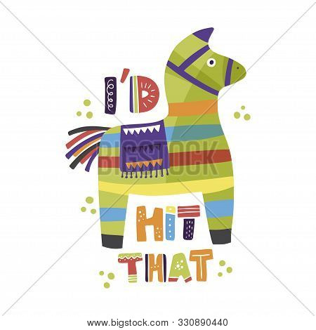 Cinco De Mayo Vector Flat Cartoon Card. Ornate Festive Mexican Illustration With Pinata And Letterin
