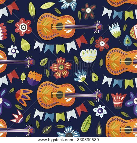 Seamless Festival Vector Pattern With Guitar And Flowers. Colorful Mexican Musical Background, Fiest