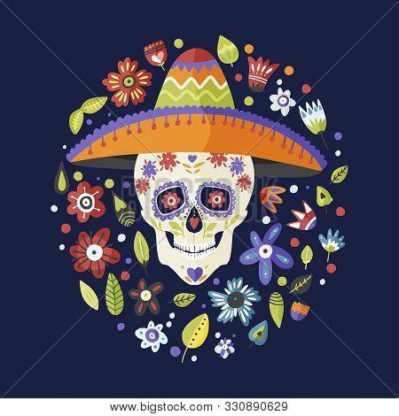 Cinco De Mayo Vector Flat Cartoon Card. El Dia De Muertos Sugar Skull In Sombrero Hat Festive Floral