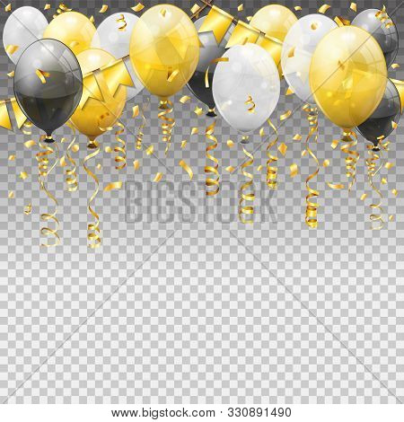 Birthday With Balloons, Golden Streamer Twisted Ribbons Flags. Birthday Carnival, Christmas Party, N