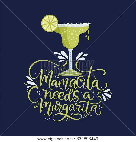 Cinco De Mayo Vector Flat Cartoon Card. Ornate Festive Mexican Illustration With Lime Alcohol Drink