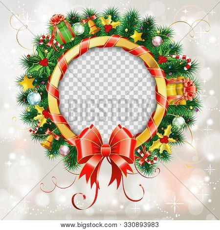 Decorative Christmas Wreath With Red Bow, Candy, Baubles And Christmas Decoration. Frame With Transp