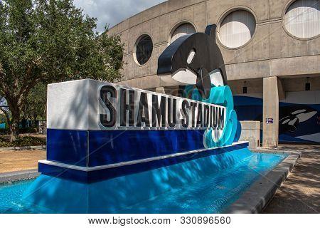 Orlando, Florida. October 24, 2019. Shamu Stadium Sign At Seaworld