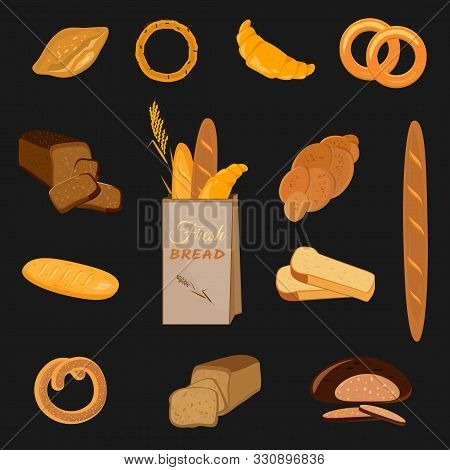 Set Of Bakery Products. Wheat, Rye And Whole Grain Bread. Pretzel And Bagel, Ciabatta And Muffin, Cr