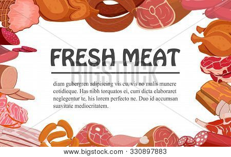Banner With Meat Products. Roast Chicken And Prime Rib, Sausage, Salami And Ham, Sirlon, Bacon, Sucu