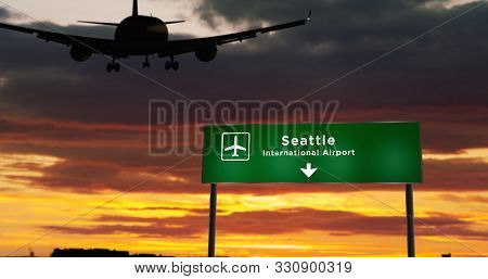 Airplane Silhouette Landing In Seattle, Washington, United States. City Arrival With Airport Directi