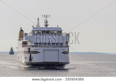 Fairhaven, Massachusetts, Usa - February 23, 2019: Vehicle-passenger Ferry Woods Hole Coming Out Of