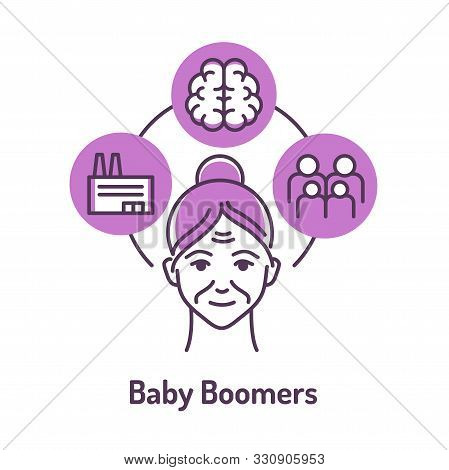 Generation Baby Boomers Color Line Icon On Violet Background. Lifestyle: Factory Work, Large Family,