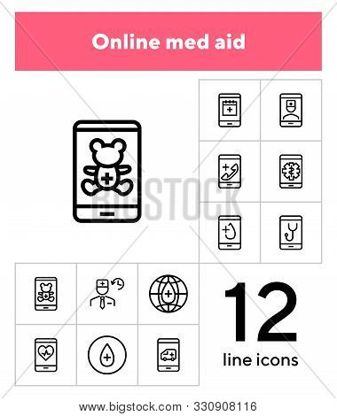 Online Med Aid Icon Set. Line Icons Collection On White Background. Smartphone, Doctor, Gadget. Tele