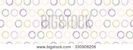 Dotty Shibori Tie Dye Sunburst Circle Border Background. Seamless Pattern On Bleached Resist White R