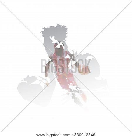Basketball Players Multi Exposure Vector Illustration. Streetball Athletes
