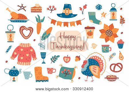 Thanksgiving Hand Drawn Flat Vector Clipart. Design Elements With Hat, Pumpkin, Turkey, Sweater, Pil
