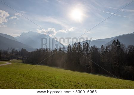 Amazing Landscape Scenery With A Blue Sky, Trees And Mountains At Berchtesgaden Germany