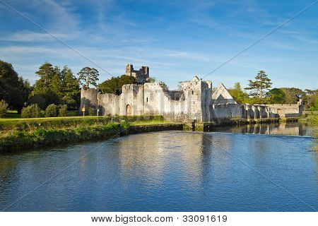 Ruins of Adare castle with reflection at summer time