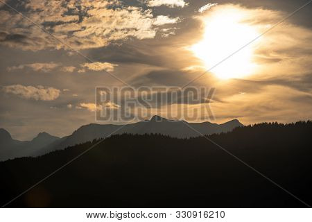 Idyllic Landscape Scenery With Trees And Mountains At Berchtesaden Germany