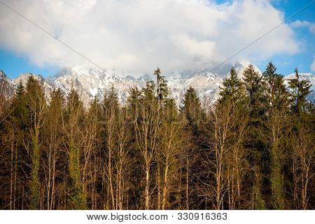 Idyllic Landscape Scenery With Clouds, Trees And Mountains With Snowcapped Mounaintops At Berchtesad