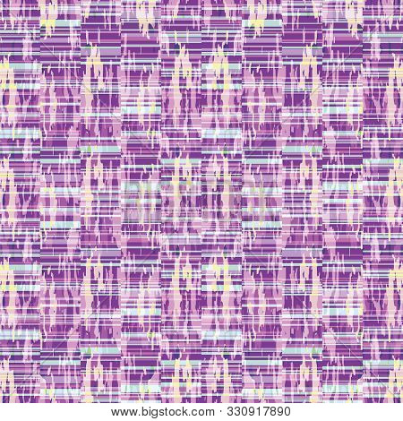 poster of Spliced stripe geometric variegated background. Seamless pattern with woven dye broken stripe. Bright gradient textile blend all over print. Trendy digital disrupted line fashion swatch. Purple hue